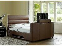 Brown faux leather TV double bed for sale