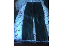 """Leather Mototcycle Jeans size 34"""""""