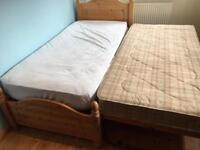 Pine Single Bed Frame and Guest bed