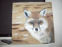 canvas picture beige colours lovely fox 2ft x 2ft.