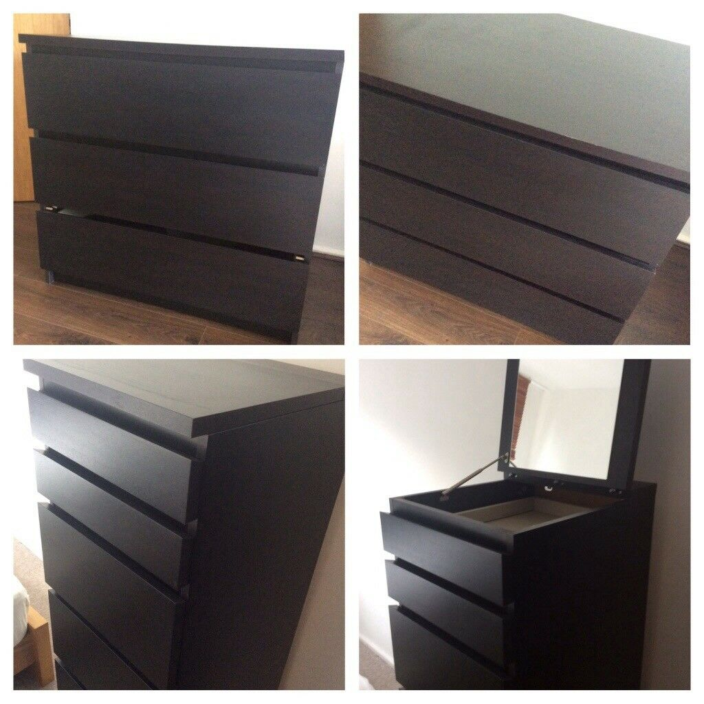 2 sets drawers ikea malm dark brown 1 x tall 6 drawer. Black Bedroom Furniture Sets. Home Design Ideas