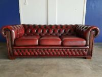 CHESTERFIELD OXBLOOD LEATHER 3 SEATER SOFA / SETTEE / COUCH DELIVERY AVAILABLE