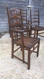 Six Ercol Old Colonial Ladder Back Dining Chairs ~ Two Carvers*FREE DELIVERY* (farmhouse pine table)