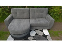 Ex-display Hepburn 3 Seater Grey Fabric Material Lounger.