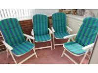 Set of 4 reclining garden chairs with cusions