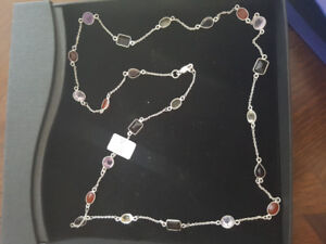 Stamped 925 silver gemstone necklace for sale.