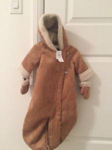 Baby Gap stroller suit - light brown faux suede, BNWT