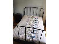 Ikea metal frame double bed (black)