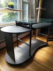 Glass-Top Desk with Pull-Out Keyboard Tray