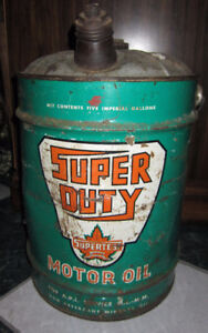 Vintage Petrolia Collectible Supertest 5 Gallon Oil Can
