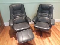 2 Blue / Grey Comfy Leather Effect Reclining Swivel Chairs with 1 Footstool For Office or Lounge