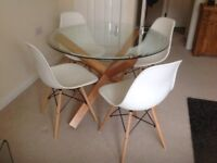 Round Glass Dining Table & 4 White Eames Style Chairs