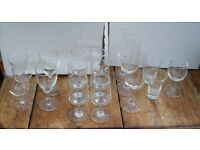 Collection of small glasses, Port, Sherry, Shot, Sparkling wine, etc