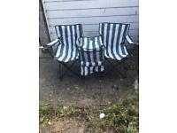 Twin camping chair candy stripe