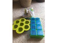 Tommee Tippee food blender, beaba food pots and milk food storage