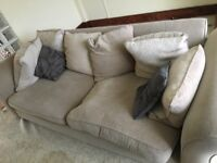 Settee Sofa three seater beige with cushions free