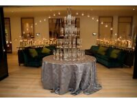 EVENT PROP HIRE - CHAMPAGNE TOWER, MIRROR SEATING PLAN, TABLE NUMBERS, POST BOX, PARTIES, WEDDINGS