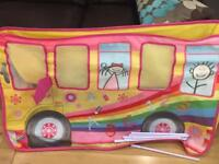 School bus pop-up tent