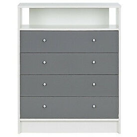 New Malibu Gloss 4 Drawer Media Chest - Grey