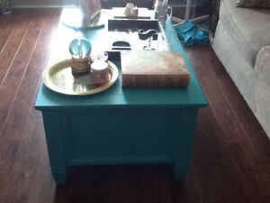 Cedar chest coffee table. Turquoise