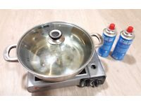 Portable Gas Stove with Pot and 2 cans of gas