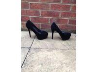 New Look black suede platform stiletto heels, size 5 (38), barely worn!