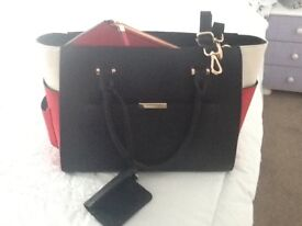 Womens new red and black office work hand/shoulder bag from M&S