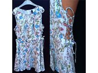 Flowery cut out sides summer dress