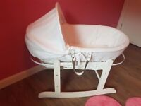 White Rocking Moses Basket *new*