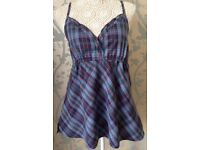 Women's Blue Check Summer Top Size 16 NEW