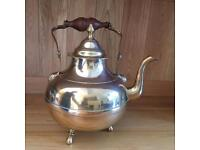 Brass fire side ornamental kettle with lid and wooden handle