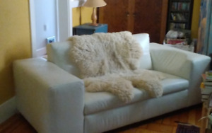 White Leather Couch 2-seat