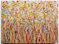 LARGE MODERN ART ABSTRACT NEW YELLOW DANDELION FLOWER LANDSCAPE PAINTING ON CANVAS | Free Delivery