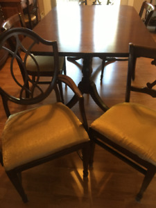 Duncan Phyfe-style 2 pedestal table & chairs