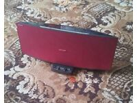 Sony CD ipod dock digital DAB radio red slot loading