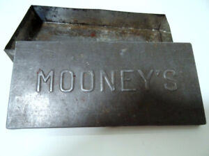 old MOONEY'S METAL stash box ANTIQUE no clue what it was for???