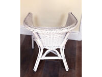 Childs White Wicker Rattan Armchair Tub Solid Wood Armchair