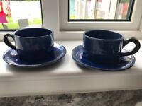 2 x French rustic blue cappuccino cups