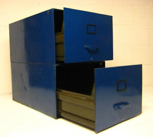 FOUR drawer industrial filing cabinet - painted blue