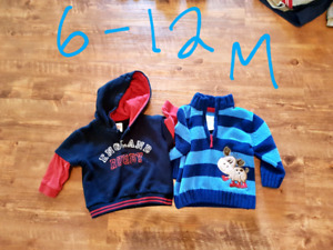 Boys sweaters and hoodies 3 months up to 24 months