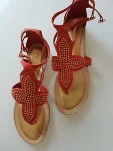 Orange and gold leather/wood Kate Spade sandals - 8-9