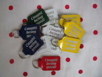 NEW 14 Caught Being Good leather-effect key rings in white/yellow/green/blue/red. £1.25 the lot