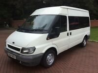 2004 04 Ford transit minibus MWB 9 or 12 seater full mot no vat may px,white,9 seater or 12 seater