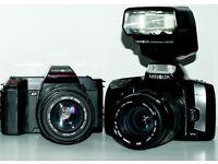 Minolta 300si and Minolta 5000 film bodies and lenses