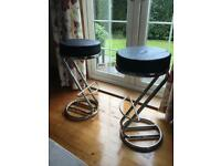 Set of 2 chrome bar stools