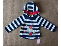 NEW Navy and white Girls fleece top 6-9 Months