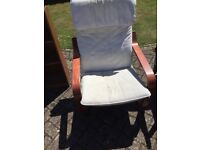 Ikea chair, cream with dark wood, great condition