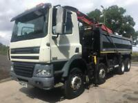 2012 62 DAF CF 85.410 Euro 5 8x4 Thompson tipper Epsilon M125L crane and grab