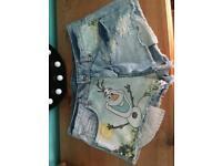 Ladies Denim shorts Disney Olaf shorts size 8 like new