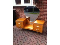 Large vintage dressing table and tilt mirror.